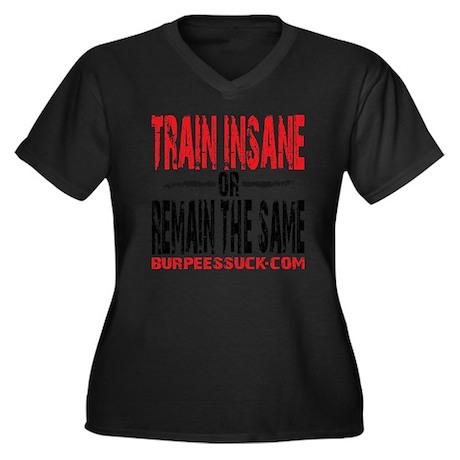 TRAIN INSANE Women's Plus Size Dark V-Neck T-Shirt