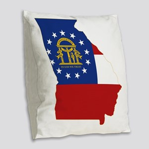 Georgia State Flag and Map Burlap Throw Pillow