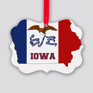 Iowa State Flag and Map Picture Ornament