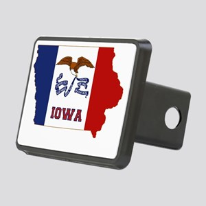 Iowa State Flag and Map Rectangular Hitch Cover