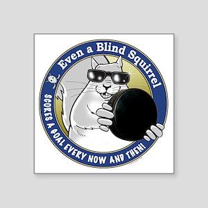 """Hockey Blind Squirrel Square Sticker 3"""" x 3"""""""