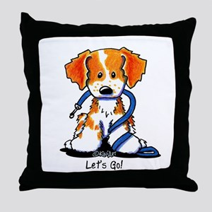 French Brittany Let's Go! Throw Pillow