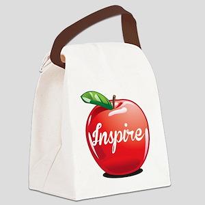 Inspire Apple for Teacher Canvas Lunch Bag