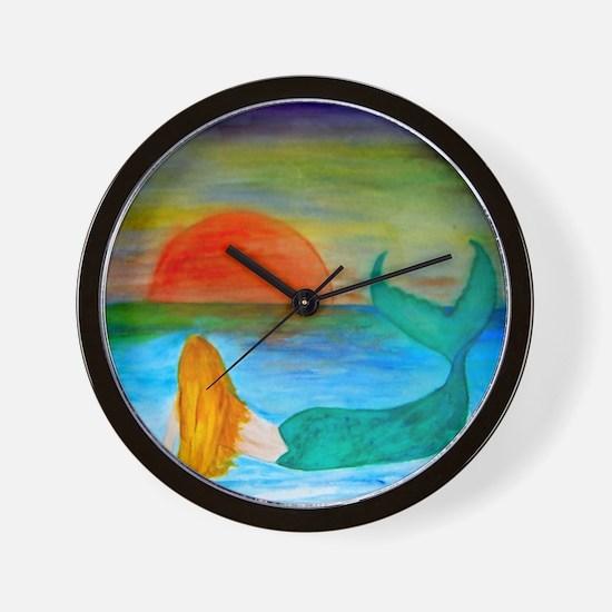 Sunset Mermaid Wall Clock