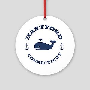 souv-whale-hartford-LTT Round Ornament