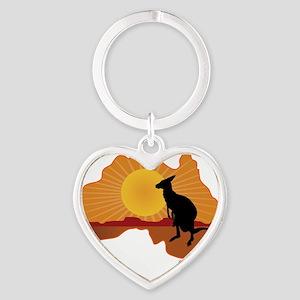 Australia Kangaroo Heart Keychain