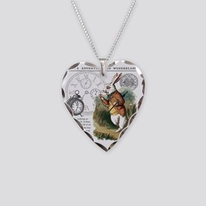 The White Rabbit Alice in Won Necklace Heart Charm