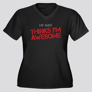 Aunt Awesome Women's Plus Size V-Neck Dark T-Shirt