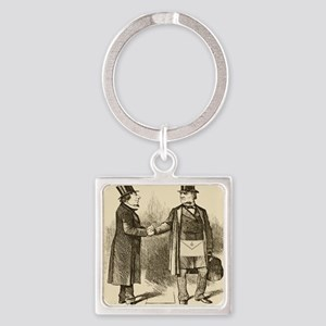 Meeting and Parting of the Masons Square Keychain