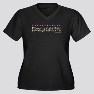 Fibromyalgia Pain Women's Plus Size V-Neck Dark T-