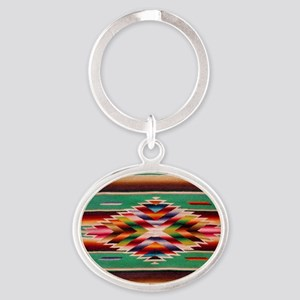 Southwest Weaving Oval Keychain