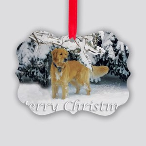 Golden Retriever Merry Christmas Picture Ornament