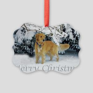 Golden Retriever Merry Christmas Picture Ornament