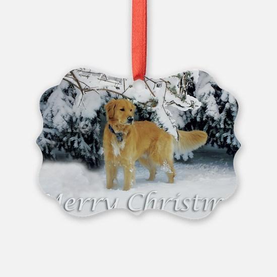 Golden Retriever Merry Christmas Ornament