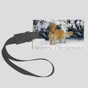 Golden Retriever Merry Christmas Large Luggage Tag