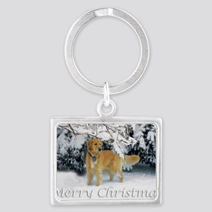 Golden Retriever Merry Christma Landscape Keychain