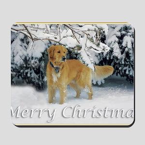 Golden Retriever Merry Christmas Mousepad