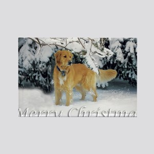 Golden Retriever Merry Christmas Rectangle Magnet