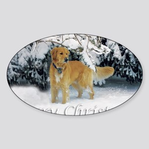 Golden Retriever Merry Christmas Sticker (Oval)