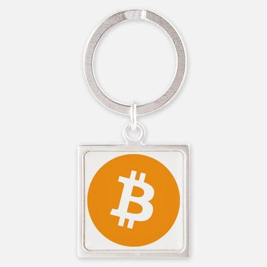 BitCoin - Orange Square Keychain