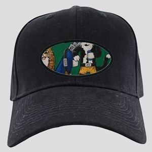 Golf Putting Cats Black Cap with Patch