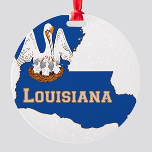 Louisiana State Flag Map Round Ornament
