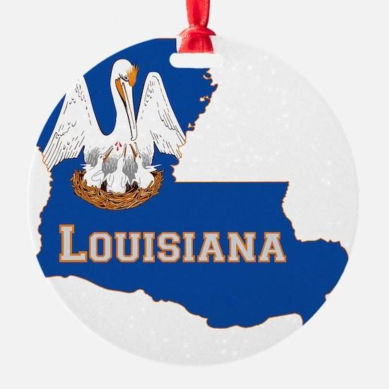 Louisiana State Flag Map Ornament