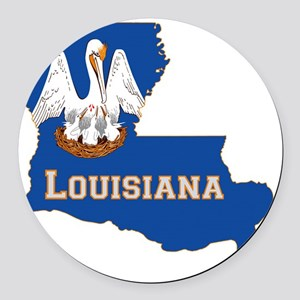 Louisiana State Flag Map Round Car Magnet