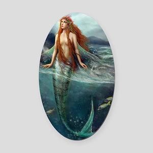 Mermaid of Coral Sea Oval Car Magnet