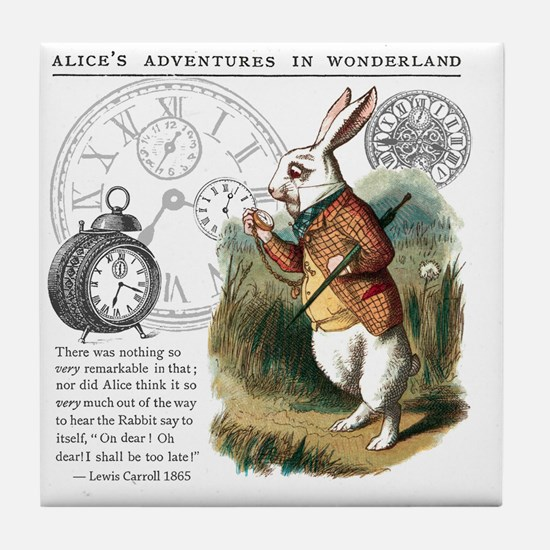 The White Rabbit Alice in Wonderland  Tile Coaster