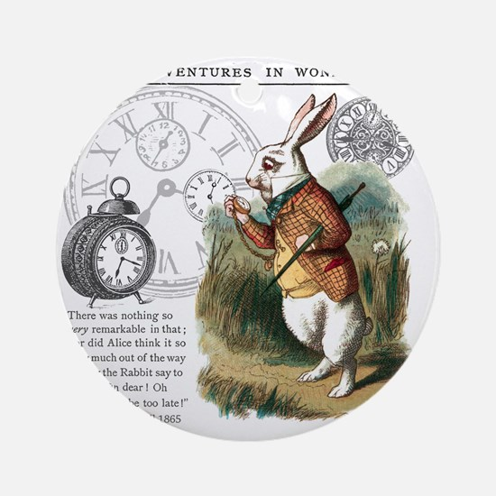 The White Rabbit Alice in Wonderlan Round Ornament