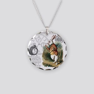The White Rabbit Alice in Wo Necklace Circle Charm