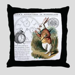 The White Rabbit Alice in Wonderland  Throw Pillow