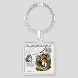 The White Rabbit Alice in Wonderla Square Keychain