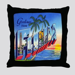 Vintage Greetings from Florida Postca Throw Pillow