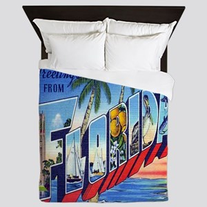 Vintage Greetings from Florida Postcar Queen Duvet