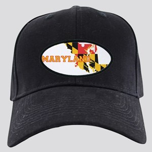 Maryland state Flag and Map Black Cap