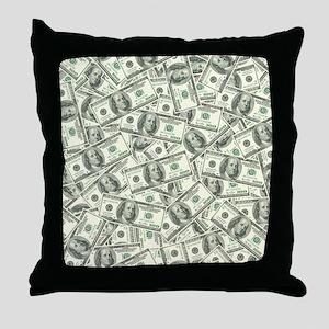 100 Dollar Bill Money Pattern Throw Pillow