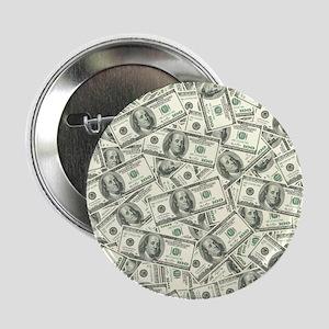 "100 Dollar Bill Money Pattern 2.25"" Button"