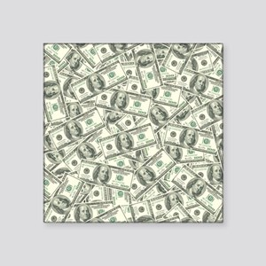 "100 Dollar Bill Money Patte Square Sticker 3"" x 3"""