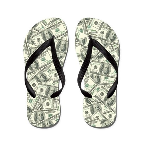 baa8e9581fddb1 100 Dollar Bill Money Pattern Flip Flops by ADMIN CP3269