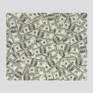 100 Dollar Bill Money Pattern Throw Blanket
