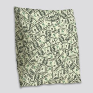 100 Dollar Bill Money Pattern Burlap Throw Pillow
