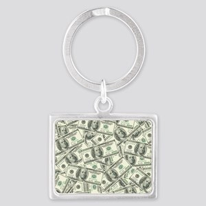 100 Dollar Bill Money Pattern Landscape Keychain