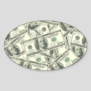 100 Dollar Bill Money Pattern Sticker (Oval)