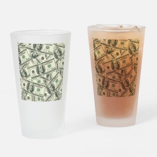 100 Dollar Bill Money Pattern Drinking Glass