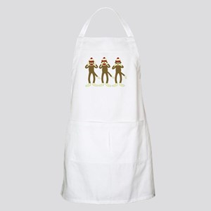 Hear, See, Speak No Evil Sock Monkeys Apron