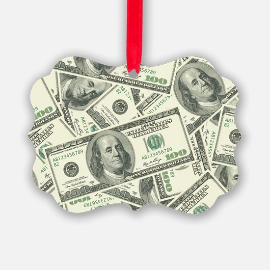 100 Dollar Bill Money Pattern Ornament