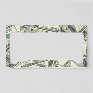 100 Dollar Bill Money Pattern License Plate Holder