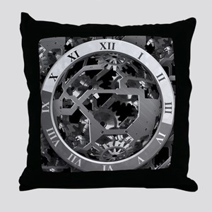 Clockwork Silver Throw Pillow